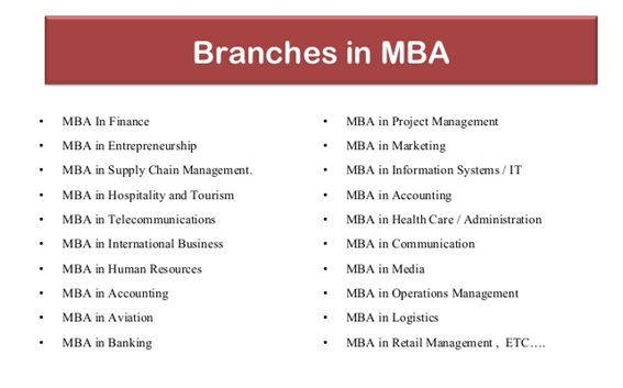 branches in mba