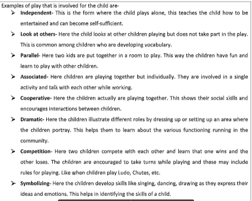 eight examples of what play may involve for the child