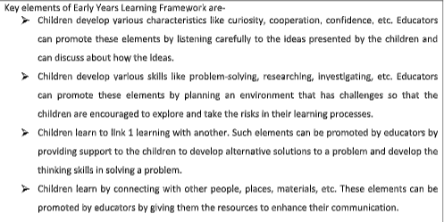 elements of early years learning framework