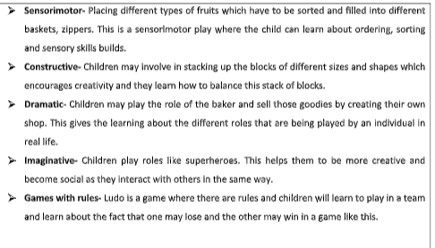 Offer examples of play for each of these categories