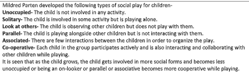 List and describe the five types of social play that theorist Milred Parten developed