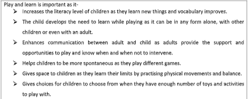 ten factors that we know about play and learning
